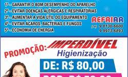 Promoção da Refriar - Higienização do Ar Condicionado de R$ 80 por R$ 59,00, válido até 02/08