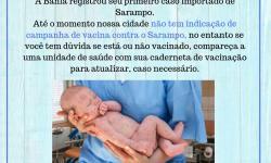 Atenção Serrolândia - Primeiro caso importante de Sarampo é registrado na Bahia