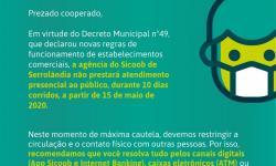 AVISO DO SICOOB - RESTRIÇÃO DE FUNCIONAMENTO