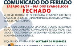 TREVO LOTERIAS COMUNICA - SÁBADO 18/07 ESTARÁ FECHADA
