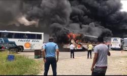 Ônibus da Falcão Real pegam fogo em garagem próximo a rodoviária de Salvador; veja vídeo
