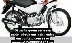 Moto é roubada em Mairi-BA
