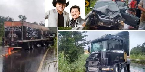 Carreta da dupla Rionegro e Solimões se envolve em acidente em Goiás