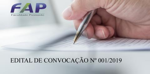EDITAL DE CONVOCAÇÃO Nº 001/2019 da FAP – FACULDADE PIEMONTE