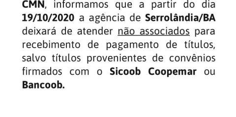 Sicoob comunica sobre atendimento a não associados