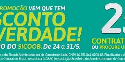 """Sicoob lança super promoção de Consórcios """"Vem que tem desconto de verdade"""""""