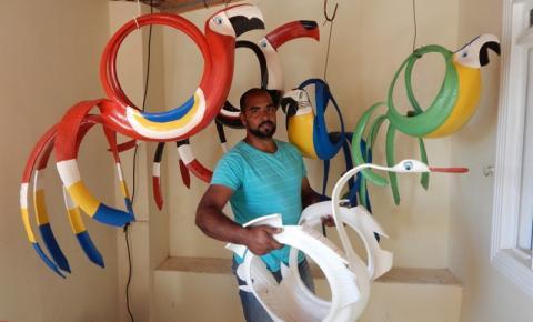 Artista Diego Soares transforma pneus velhos em Obras de Artes