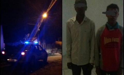 Dupla é capturada pela Polícia Militar, após assalto de celulares em Caém