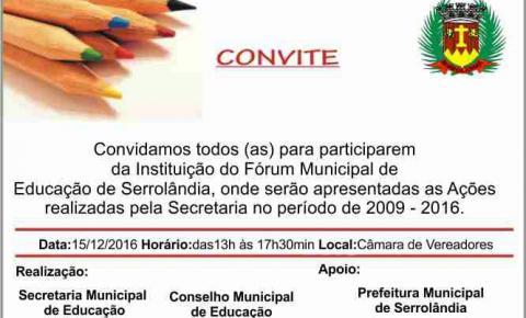 Convite - Instituição do Fórum Municipal de Educação de Serrolândia