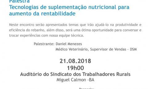 Convite: Palestra - Tecnologias de suplementação nutricional para aumento da rentabilidade