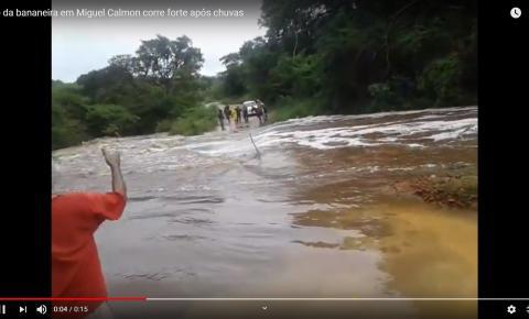 Estrada vicinal que liga Miguel Calmon a Tapiranga está interditada pela correnteza: Vídeo