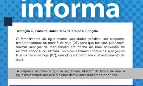 Embasa informa sobre suspensão de água para Quixabeira, Junco, Novo Paraíso e Gonçalo