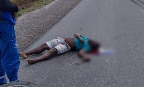 Acidente envolvendo moto e caminhão próximo ao Junco município de Jacobina