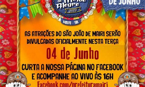 Prefeitura de Mairi divulga as atrações do São João nesta terça (4)
