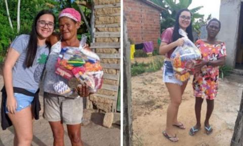 Jovem troca festa de 15 anos por doação de cestas básicas a famílias necessitadas