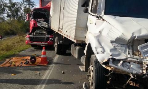 Motorista morre após engavetamento envolvendo três carretas e um carro na BR-116.