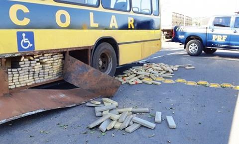 PRF apreende 'ônibus escolar' com quase uma tonelada de maconha