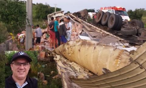 Caminhoneiro morre em grave acidente na BA-130, entre Mairi e Baixa Grande