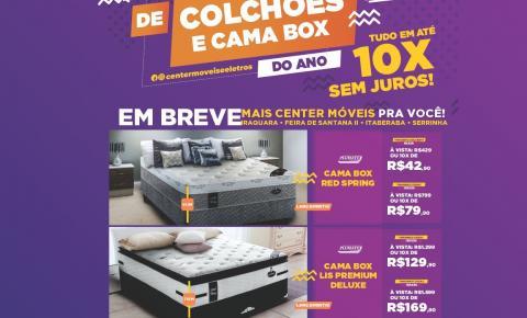 O maior feirão de colchões e cama box do ano é na Center Móveis e Eletros.