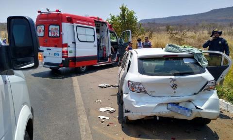 Colisão entre três veículos deixa feridos e uma mulher morta em Barreiras, no oeste da Bahia