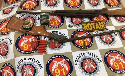 Polícia Militar encontra armas em residência de suspeito de cometer abuso sexual contra menor