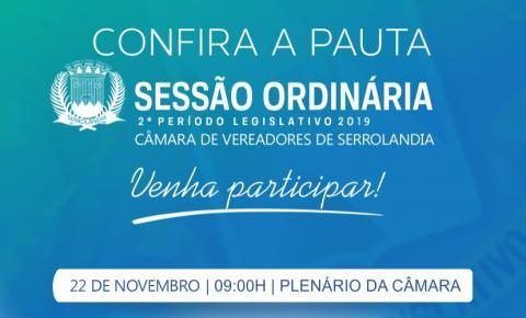 Confira a Pauta da Sessão da Câmara de Vereadores desta sexta-feira 22 de novembro