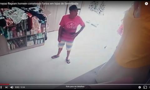 Câmeras flagram homem cometendo furtos em lojas de Serrolândia: Veja o vídeo