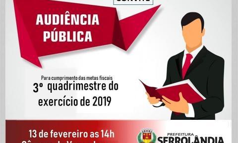 A Prefeitura Municipal de Serrolândia convida toda a população para participar da Audiência Pública