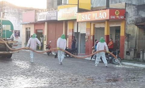 Prefeitura de Serrolândia faz desinfeção de ruas em combate ao Coronavírus
