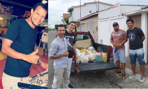 Ney Chambinho e Sua Banda Entrega Cestas Básicas após arrecadação de alimentos em Sua Live Solidária