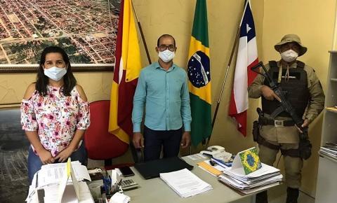 Prefeito Gonçalves recebe visita do Comandante da 91° Companhia Independente de Polícia Militar da Bahia