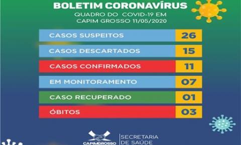 Mais uma pessoa testa positivo para Covid-19 em Capim Grosso; município já registra 11 casos