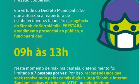 Sicoob comunica reabertura da agência de Serrolândia