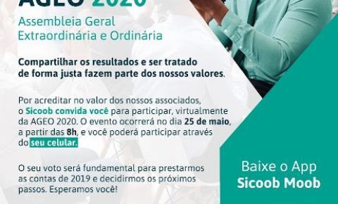 Sicoob Coopemar convida todos para participarem da Assembleia Extraordinária e Ordinária - AGEO 2020