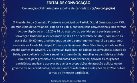 PSD CONVIDA SEUS FILIADOS PARA CONVENÇÃO MUNICIPAL ELEIÇÕES 2020