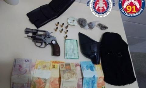 Polícia Militar prende homem por Porte Ilegal de Arma de Fogo e Lei de Drogas em Serrolândia