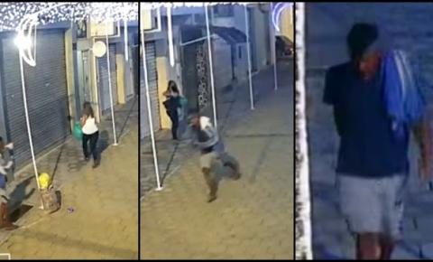Câmeras de segurança flagram elemento tomando celular de assalto em Jacobina