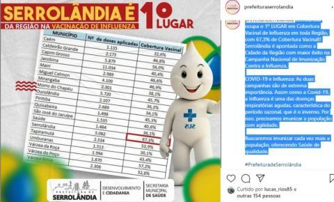 Serrolândia ocupa o 1º LUGAR em Cobertura Vacinal de Influenza em toda Região