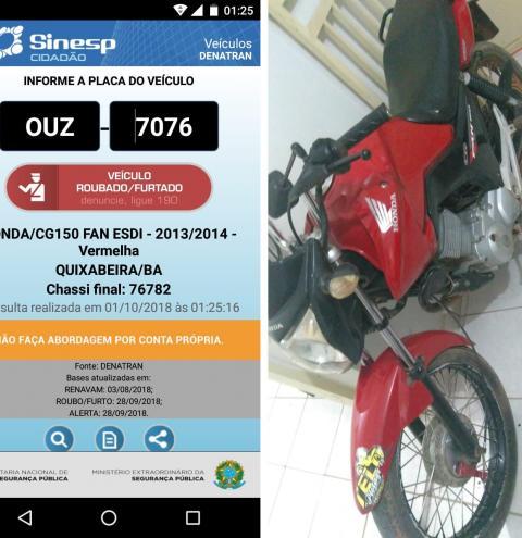 Moto roubada em Quixabeira é recuperada em Cafarnaum