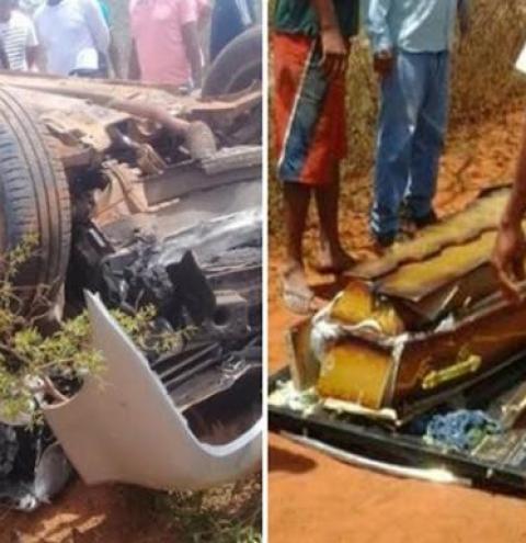 Motorista de carro funerário 'surta' ao chegar em cemitério, foge com caixão em alta velocidade e provoca acidente
