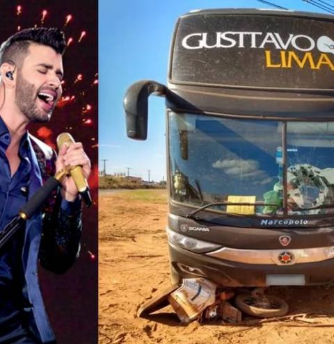 Ônibus da equipe de Gusttavo Lima se envolve em acidente com moto